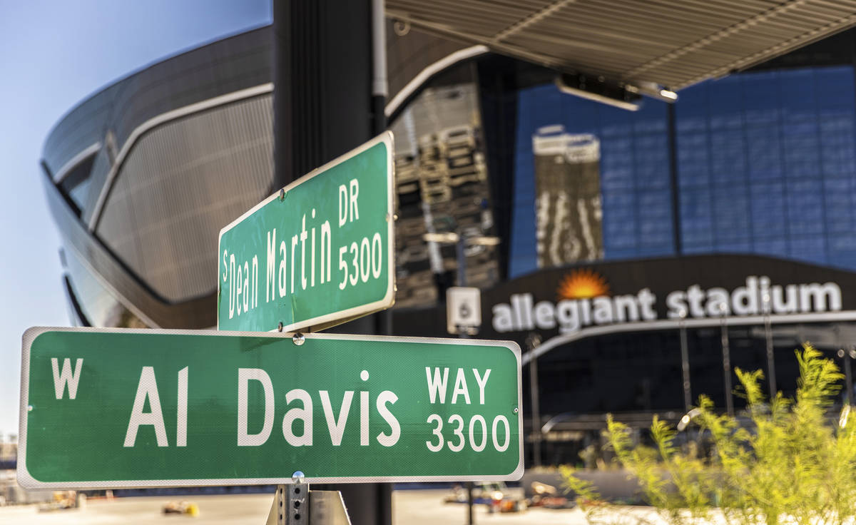 The sign for Al Davis Way at Dean Martin Drive recently went up outside Allegiant Stadium. Phot ...