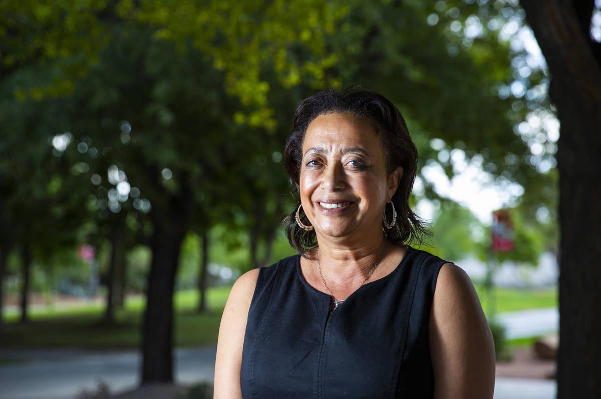 Angela Amar, dean of UNLV School of Nursing, in Las Vegas on Tuesday, July 21, 2020. (Chase Ste ...