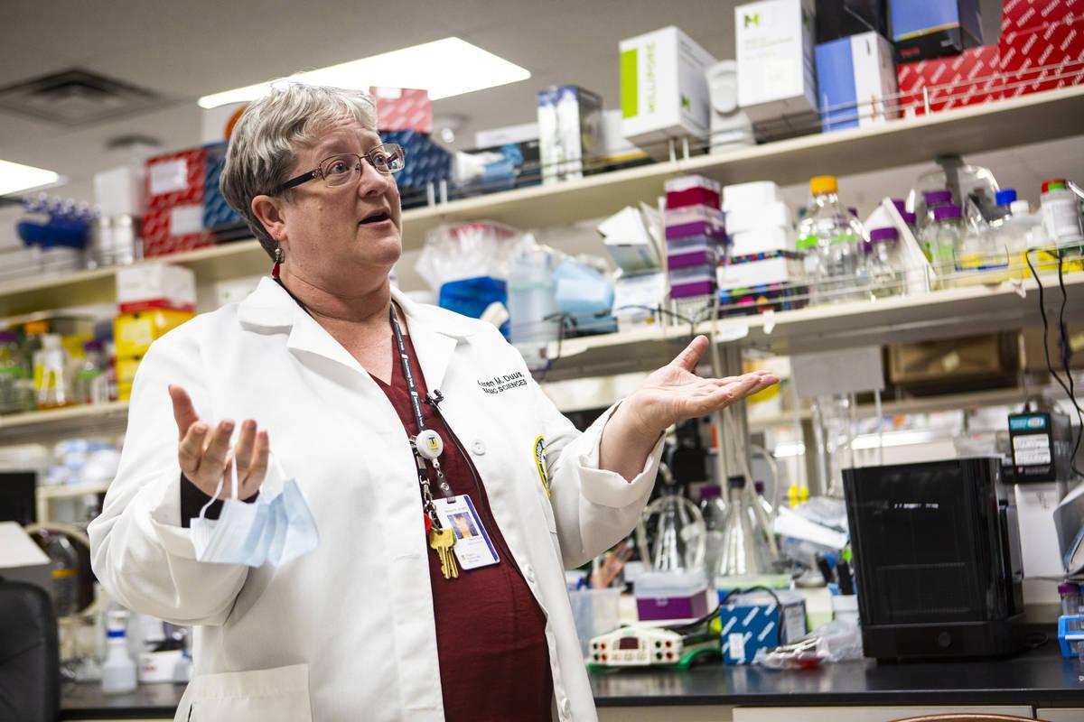 Karen Duus, a professor and virus researcher at Touro University Nevada, talks about the corona ...