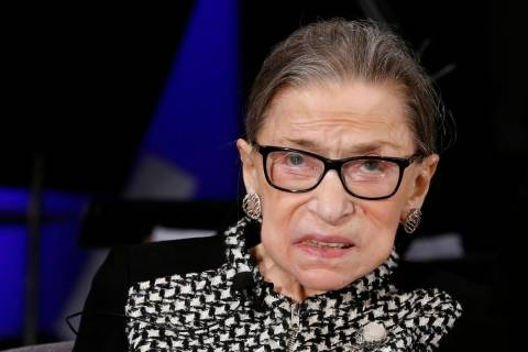FILE - In this Dec. 17, 2019, file photo, Supreme Court Justice Ruth Bader Ginsburg looks up as ...