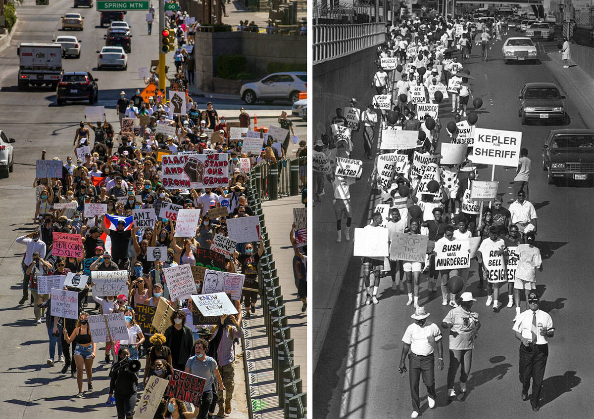 Protesters march up Las Vegas Blvd. during a Black Lives Matter protest on May 29, 2020, and 19 ...