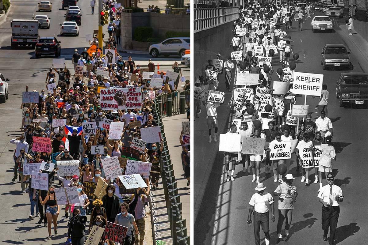 Black Lives Matter protest in Las Vegas in 2020, left, and demonstrators march in 1990 in Las V ...