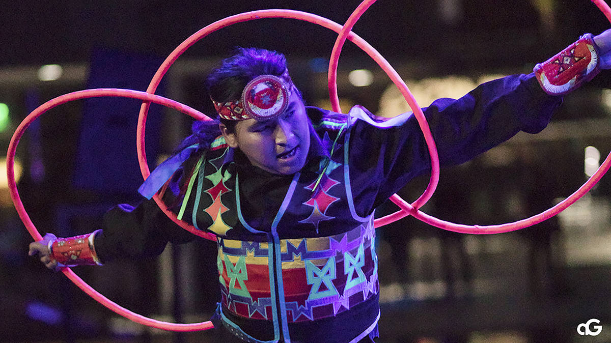 In this Aug. 10, 2018, photo provided by Anderson Gould Jr. hoop dancer Nakotah LaRance perform ...