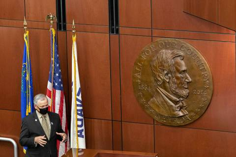 Minority Leader James Settelmeyer speaks during the special session in Carson City, Nev., Monda ...