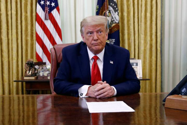 President Donald Trump participates in a law enforcement briefing on the MS-13 gang in the Oval ...