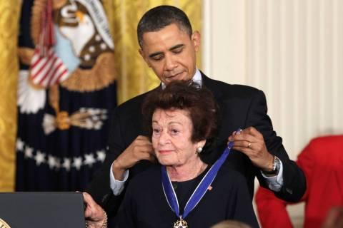 President Barack Obama presents Jewish Holocaust survivor Gerda Weissmann Klein, a 2010 Presid ...