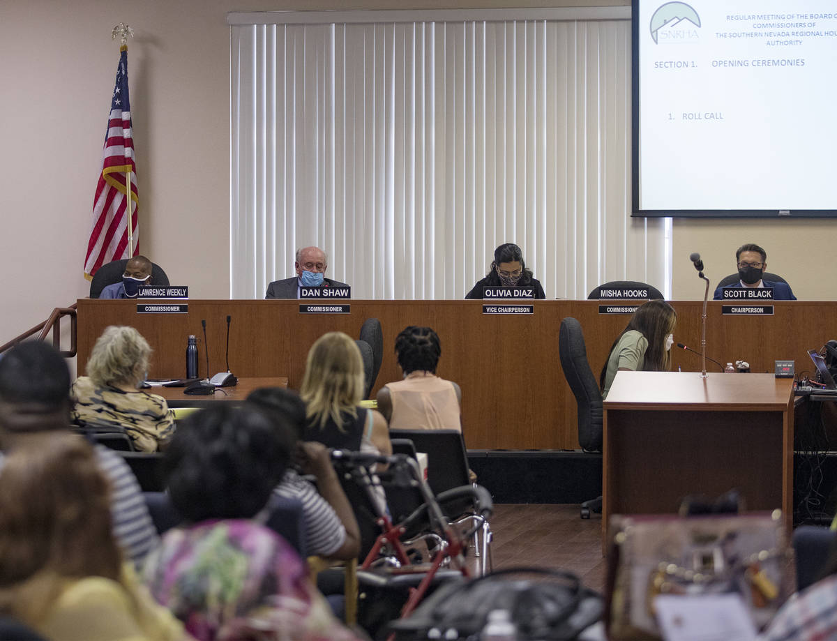 A Southern Nevada Regional Housing Authority meeting at their chambers in Las Vegas, Thursday, ...
