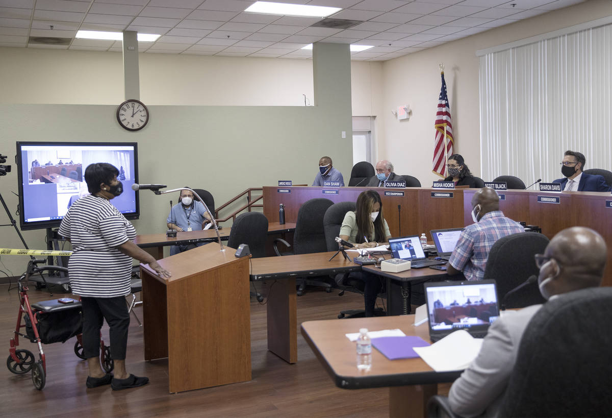 Beatrice Turner addresses the Southern Nevada Regional Housing Authority board at their meeting ...