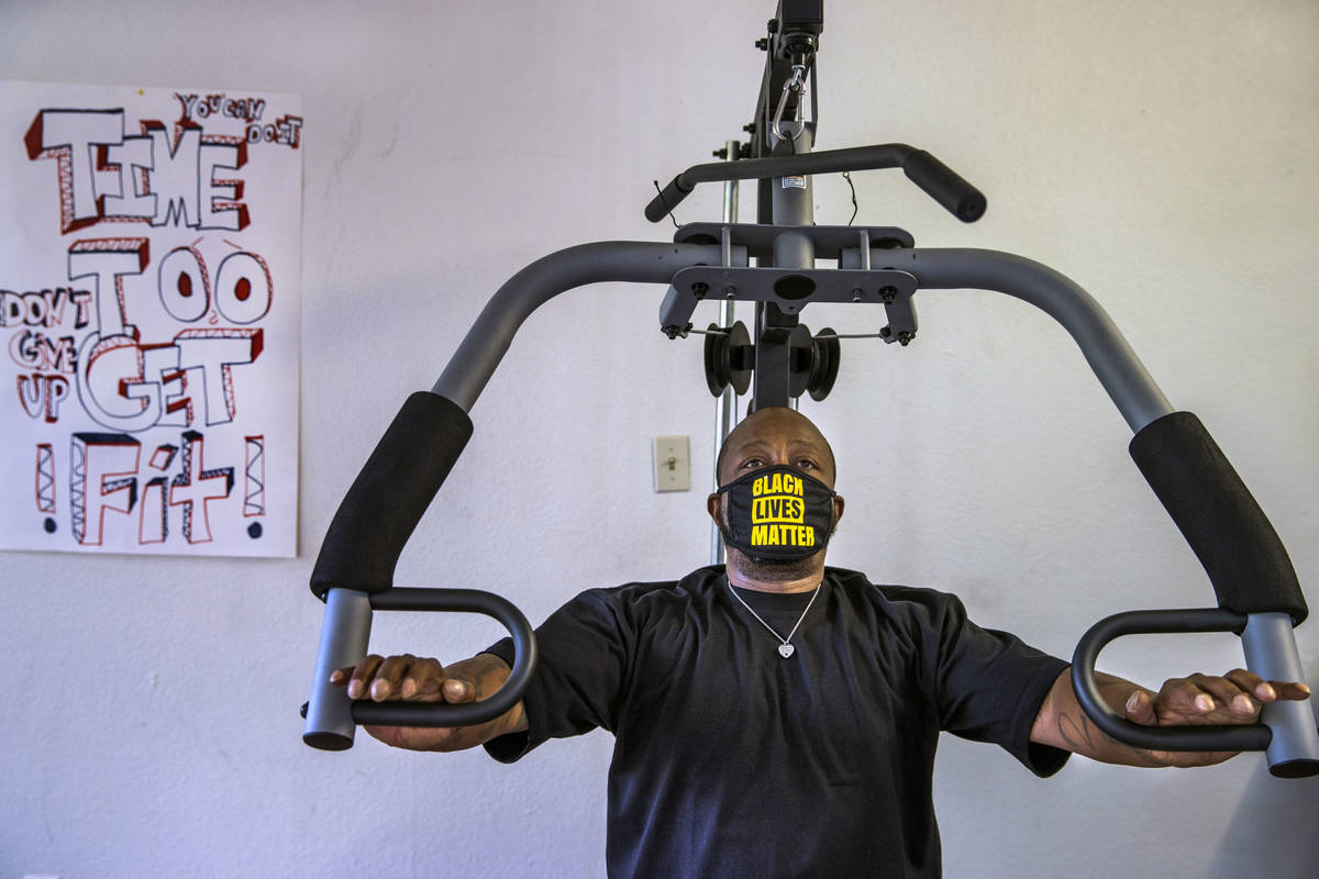 Resident Raggie Cole works out as part of his treatment plan at CrossRoads of Southern Nevada o ...