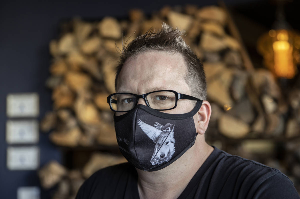 Chef/owner Brian Howard wears a custom face mask at Sparrow + Wolf on Tuesday, July 14, 2020, i ...
