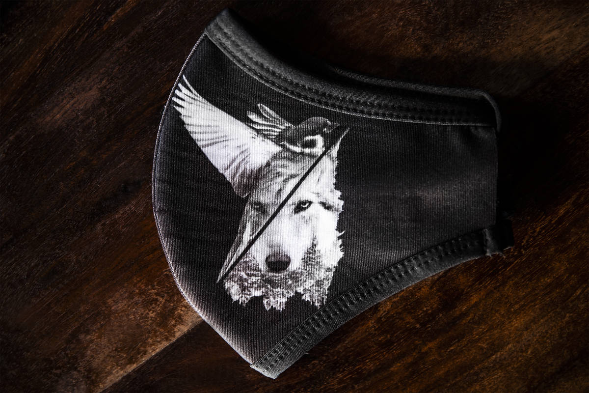 A custom face mask at Sparrow + Wolf on Tuesday, July 14, 2020, in Las Vegas. (Benjamin Hager/L ...