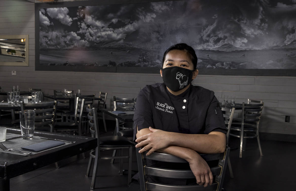 Jamie Tran from The Black Sheep wearing a custom mask on Tuesday, July 14, 2020, in Las Vegas. ...