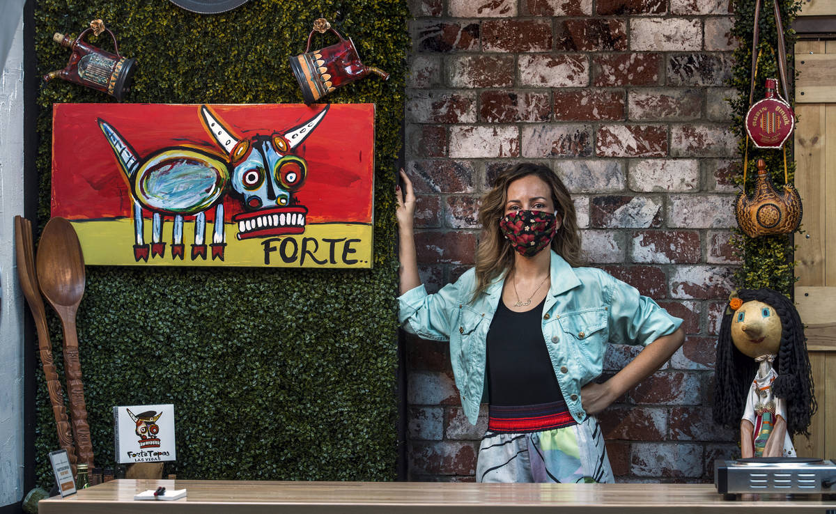 Nina Manchev with a mask at Forte Tapas where their custom masks with bull logo are soon to arr ...