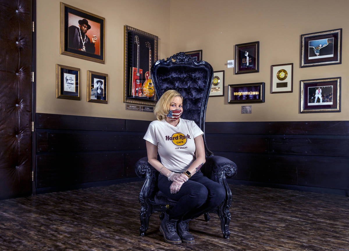 Kristin McCormick at the Hard Rock Cafe wearing one of their custom masks on Thursday, July 16, ...
