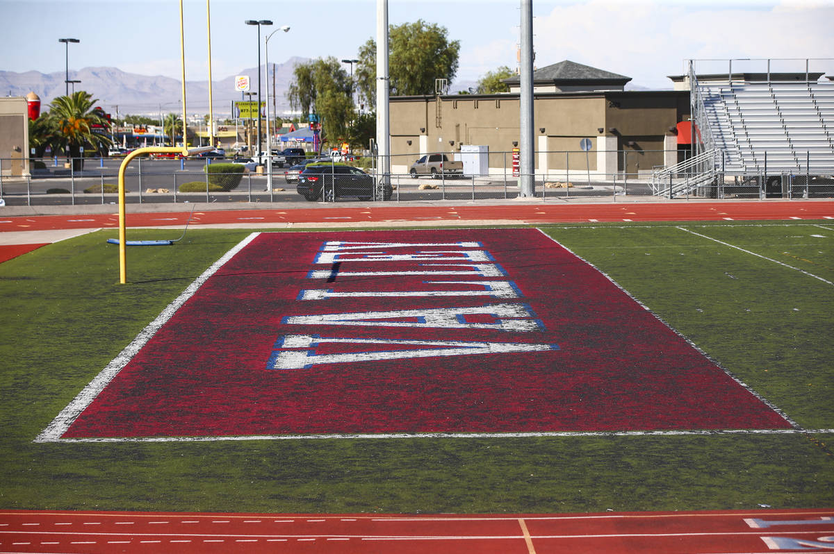 A view of the deteriorating turf at the footballl field at Valley High School in Las Vegas on W ...