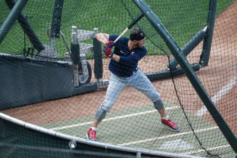 Minnesota Twins' Josh Donaldson takes batting practice during the baseball summer camp Wednesda ...