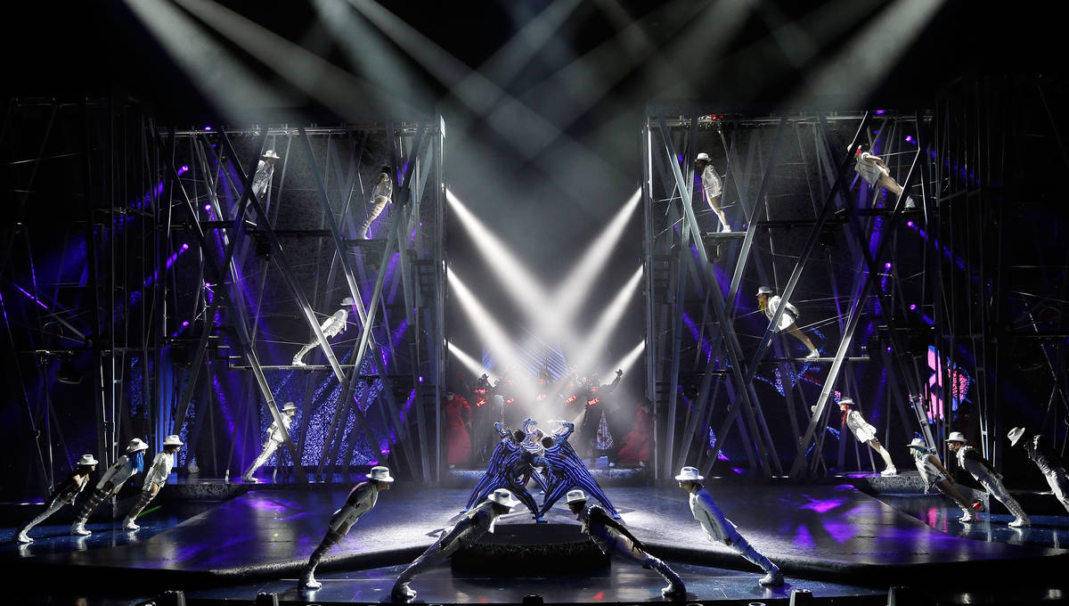"""Artists perform during a sneak peek of """"Michael Jackson One"""" by Cirque du Soleil at Mandalay Ba ..."""