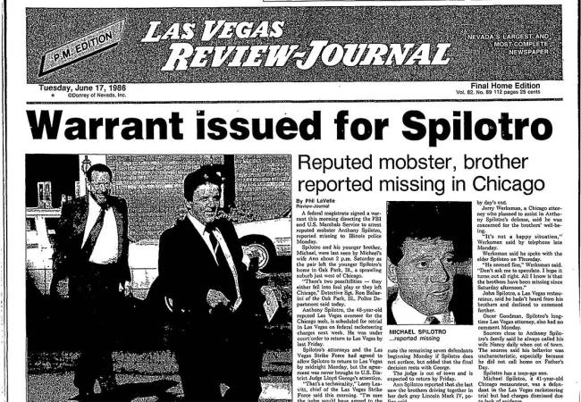 """The front page of the Las Vegas Review-Journal on June 17, 1986, features the headline, """"Warran ..."""