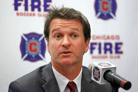 Chicago Fire Soccer Club new head coach Frank Yallop answers questions at a news conference aft ...