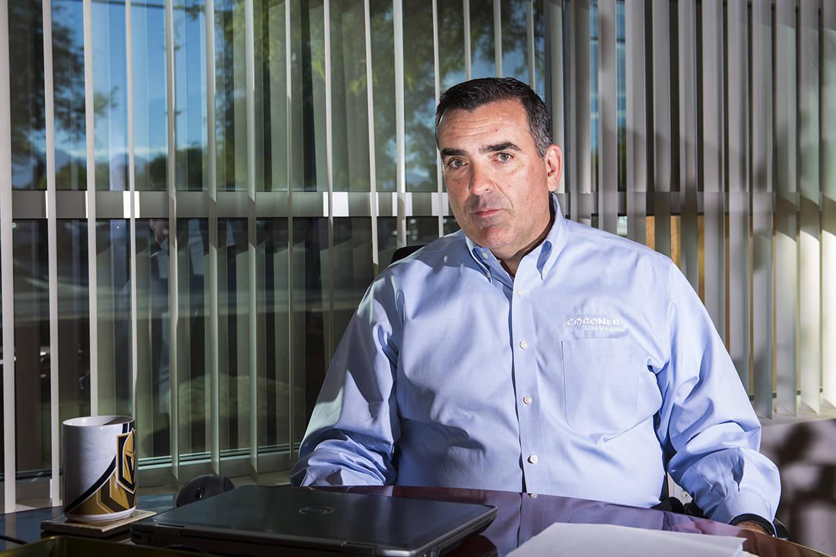 Clark County coroner John Fudenberg at his office near downtown Las Vegas on Thursday, Sept. 13 ...