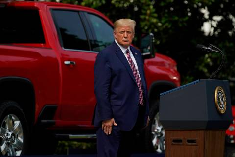 President Donald Trump pauses as he speaks during an event on regulatory reform on the South La ...