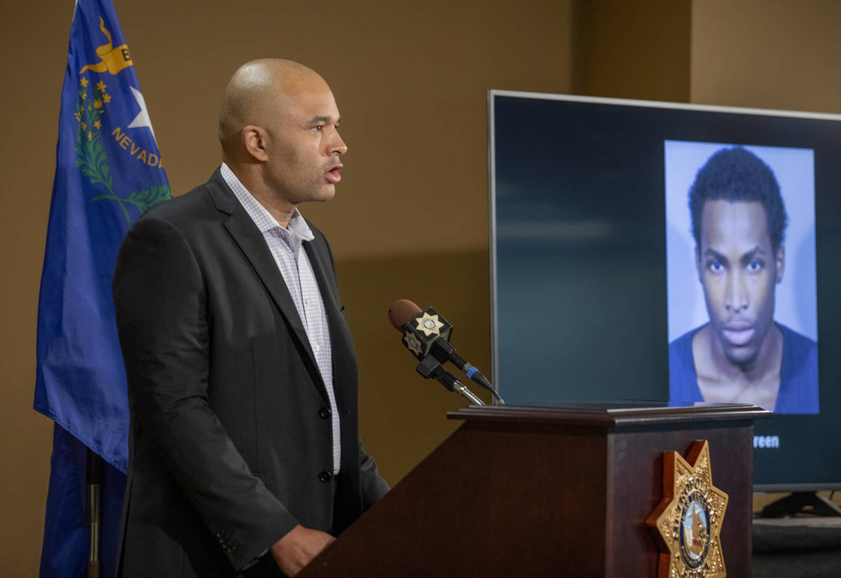 Homicide Lt. Ray Spencer announces at the Las Vegas Metropolitan Police Department headquarters ...