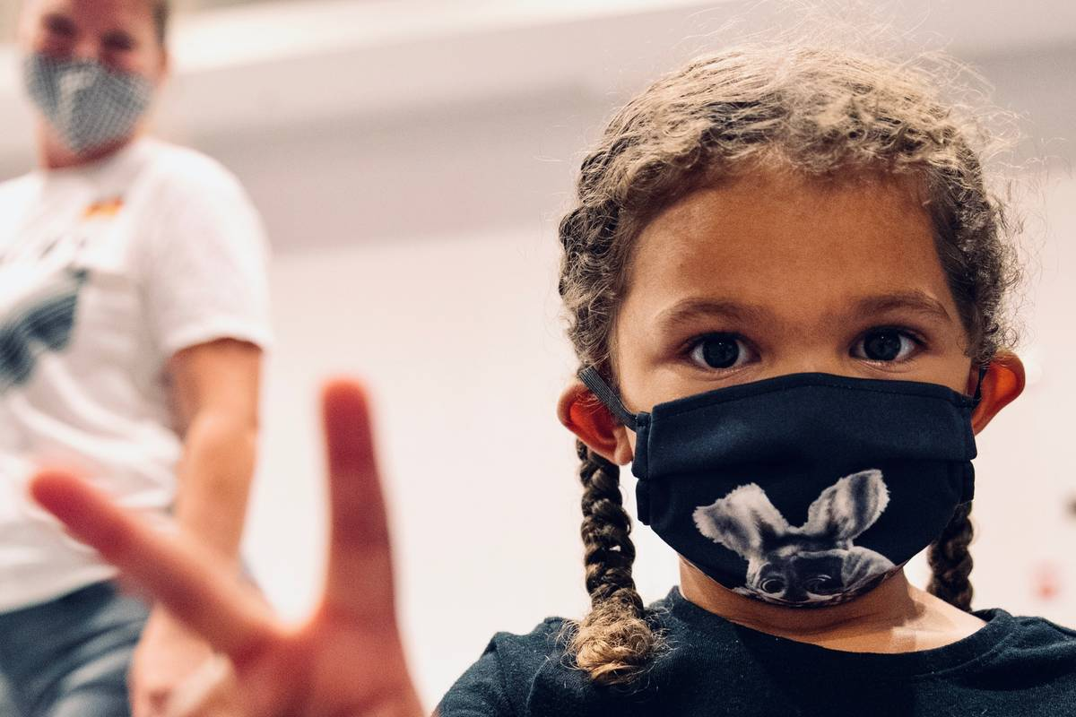 Aces forward Dearica Hamby's daughter, Amaya, wears a mask at IMG Academy in Bradenton, Florida ...