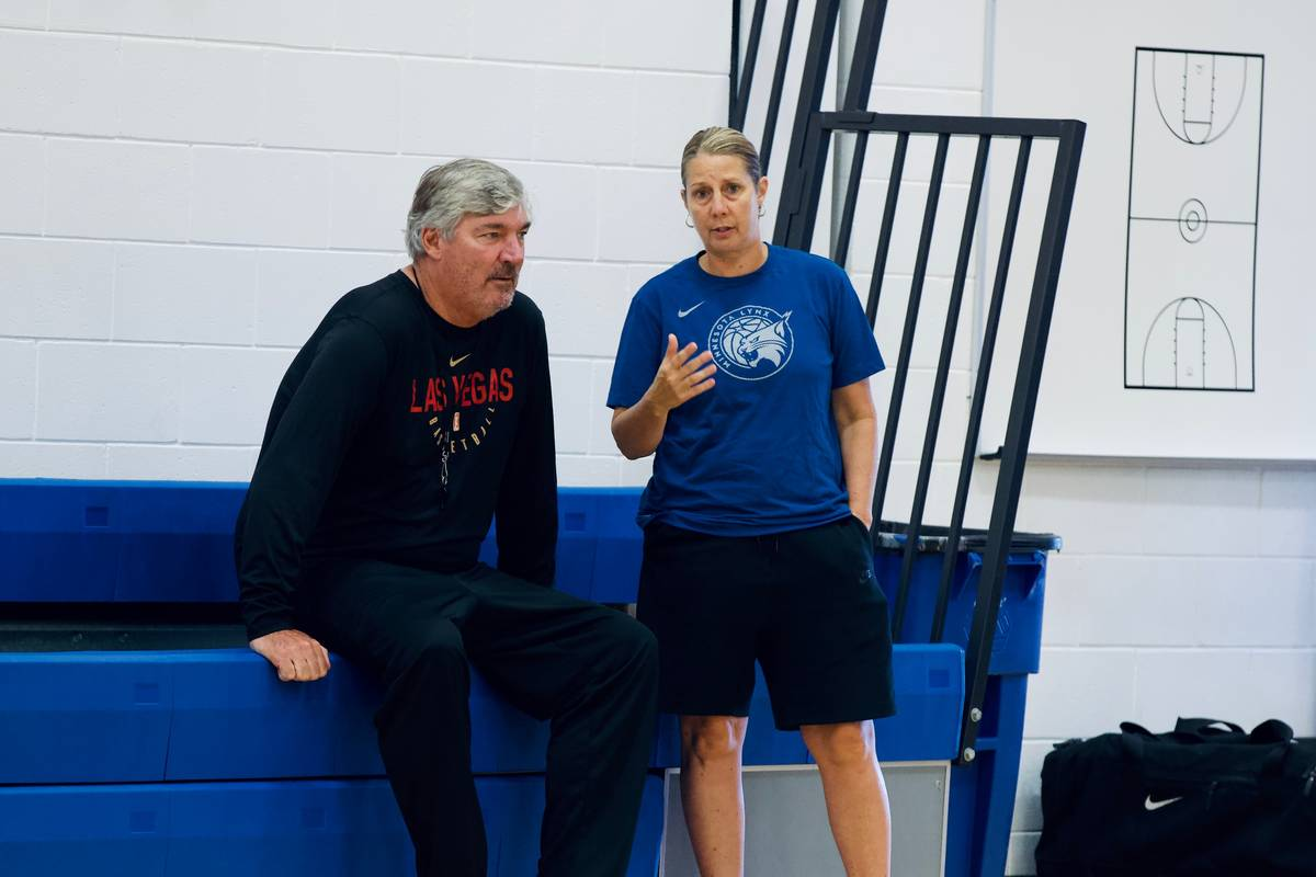 Aces coach Bill Laimbeer and Minnesota Lynx coach Cheryl Reeve talk during a practice at IMG Ac ...