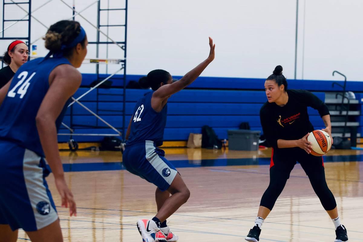 Aces guard Kayla McBride practices against the Minnesota Lynx at IMG Academy in Bradenton, Flor ...