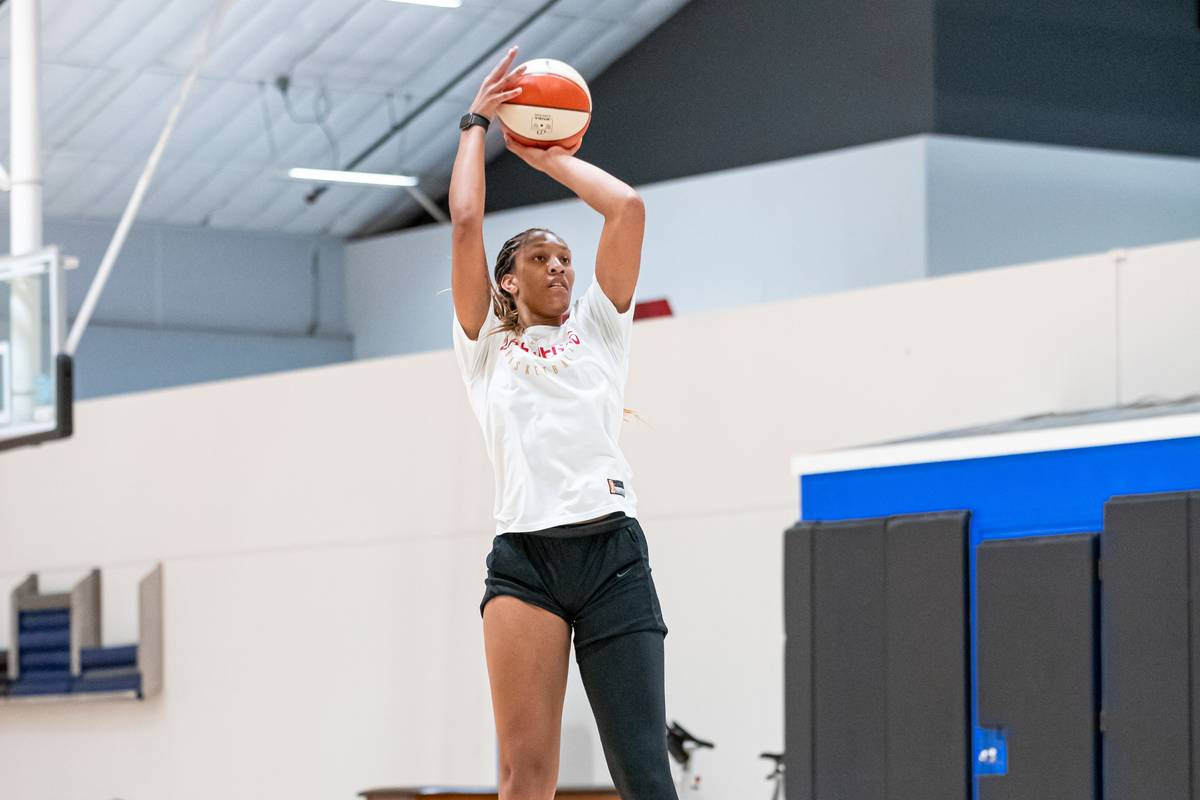 Aces forward A'ja Wilson takes a jump shot in practice at IMG Academy in Bradenton, Florida. (L ...
