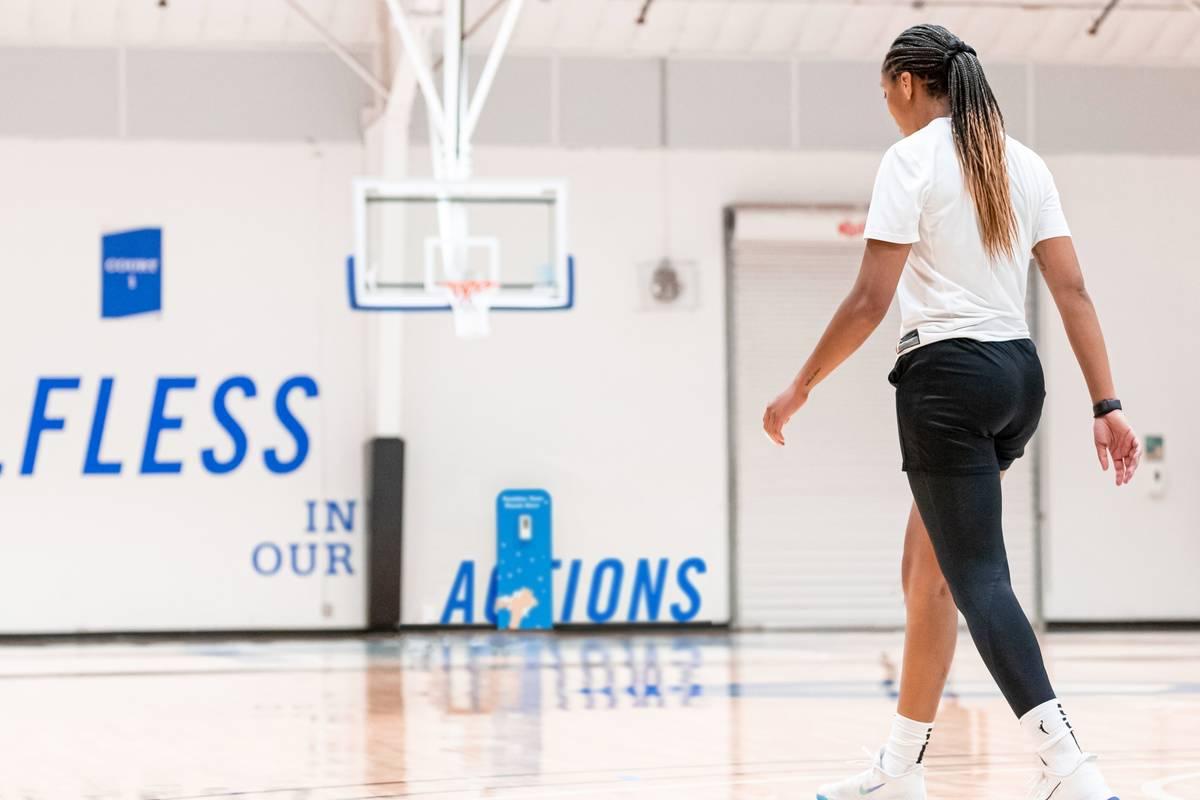 Aces forward A'ja Wilson walking at practice at IMG Academy in Bradenton, Florida. (Las Vegas Aces)