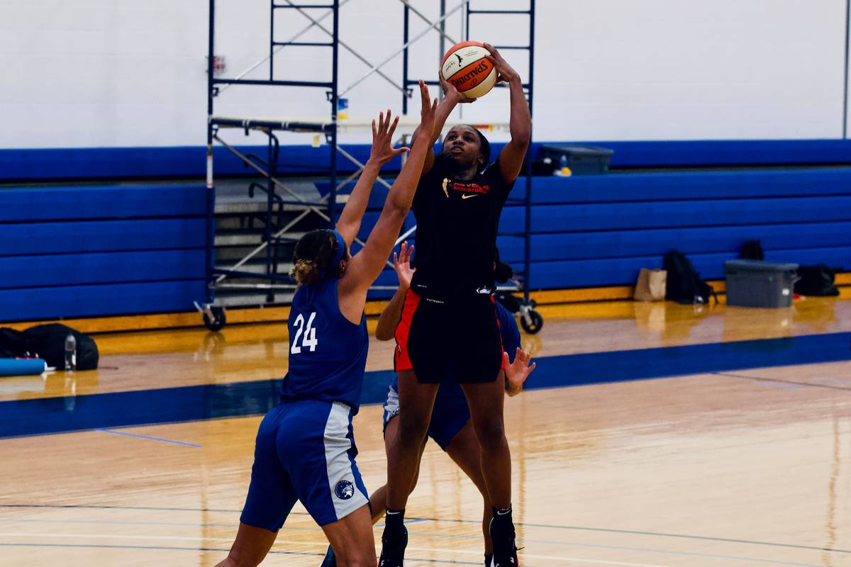 Aces guard Jackie Young takes a jump shot in practice against the Minnesota Lynx at IMG Academy ...