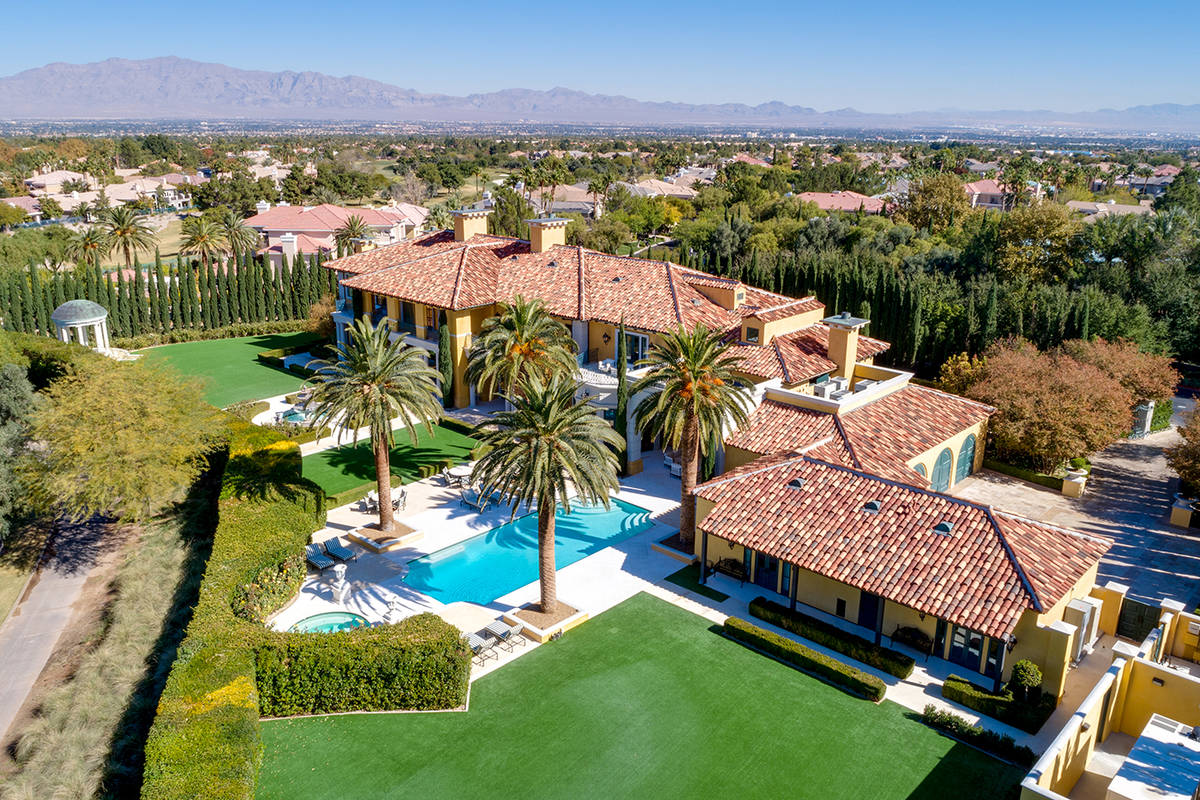 The mansion at 1717 Enclave Court in Country Club Hills is on the most exclusive street in Las ...