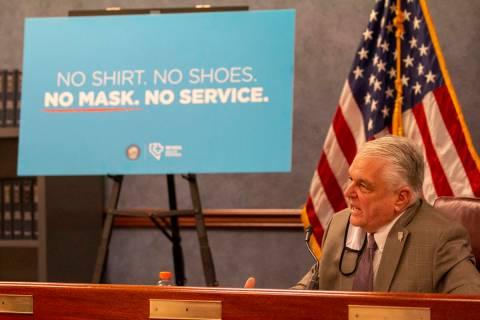 Gov. Steve Sisolak speaks during a press conference in Carson City on Wednesday, June 24, 2020, ...