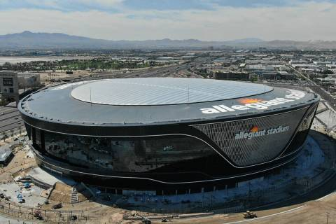 Aerial view of Allegiant Stadium as it nears completion on Thursday, June 25, 2020. (Michael Qu ...