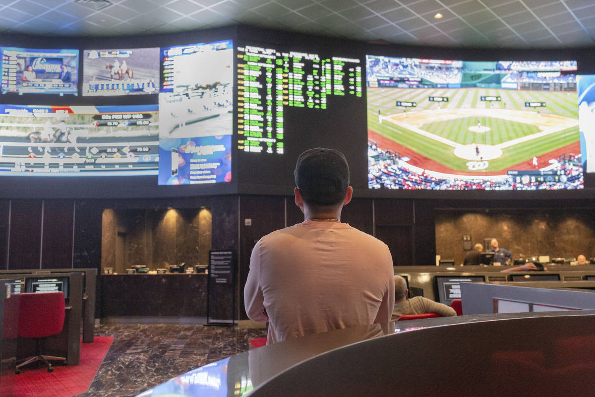 Betters watch live sports at the sportsbook at the newly renovated Palms in Las Vegas, Thursday ...