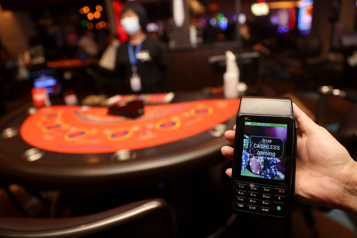 A cashless gaming card reader at Palace Station Casino in Las Vegas, Friday, July 24, 2020. (Er ...