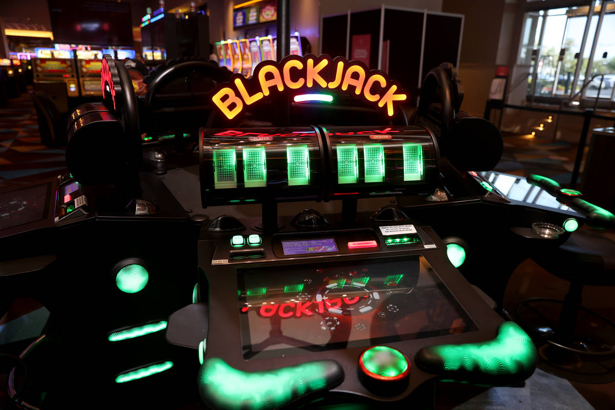 A digital blackjack table game at Palace Station Casino in Las Vegas, Friday, July 24, 2020. (E ...