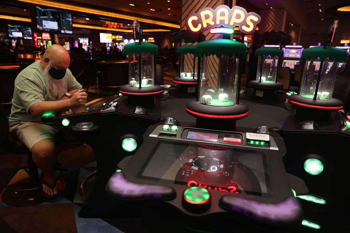 A digital craps table game at Palace Station Casino in Las Vegas, Friday, July 24, 2020. (Erik ...