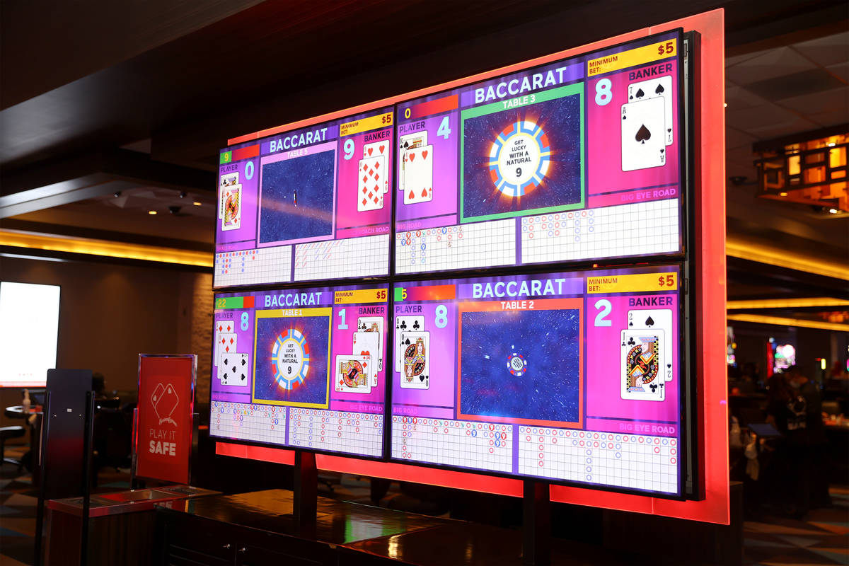 A digital screen shows the cards for players during a game of baccarat at Palace Station Casino ...