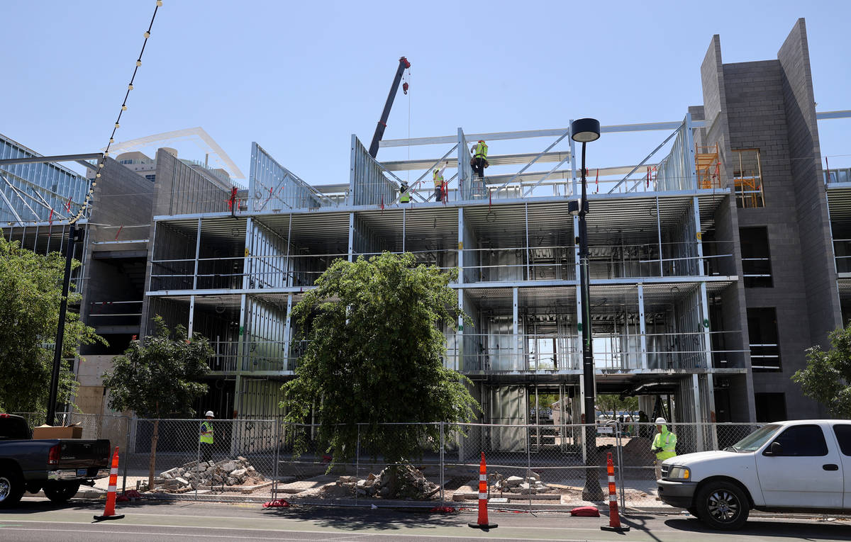 Construction continues on a boutique hotel at Main Street and Coolidge Avenue in downtown Las V ...
