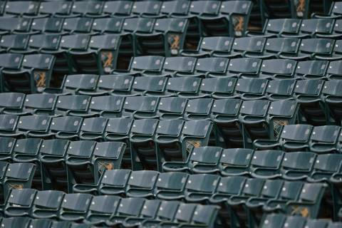 Empty seats inside Progressive Field are viewed during a simulated baseball game, Friday, July ...