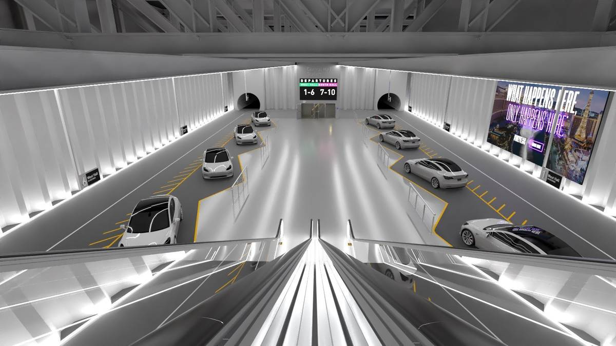 A rendering of Station 2 of the Las Vegas Convention Center Loop underground people mover proje ...