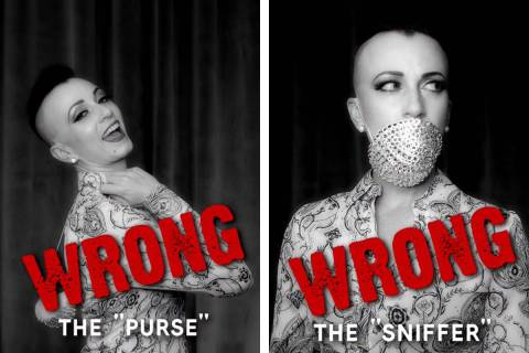 Burlesque queen Michelle L'Amour shows two ways how not to wear a face mask in a video she post ...