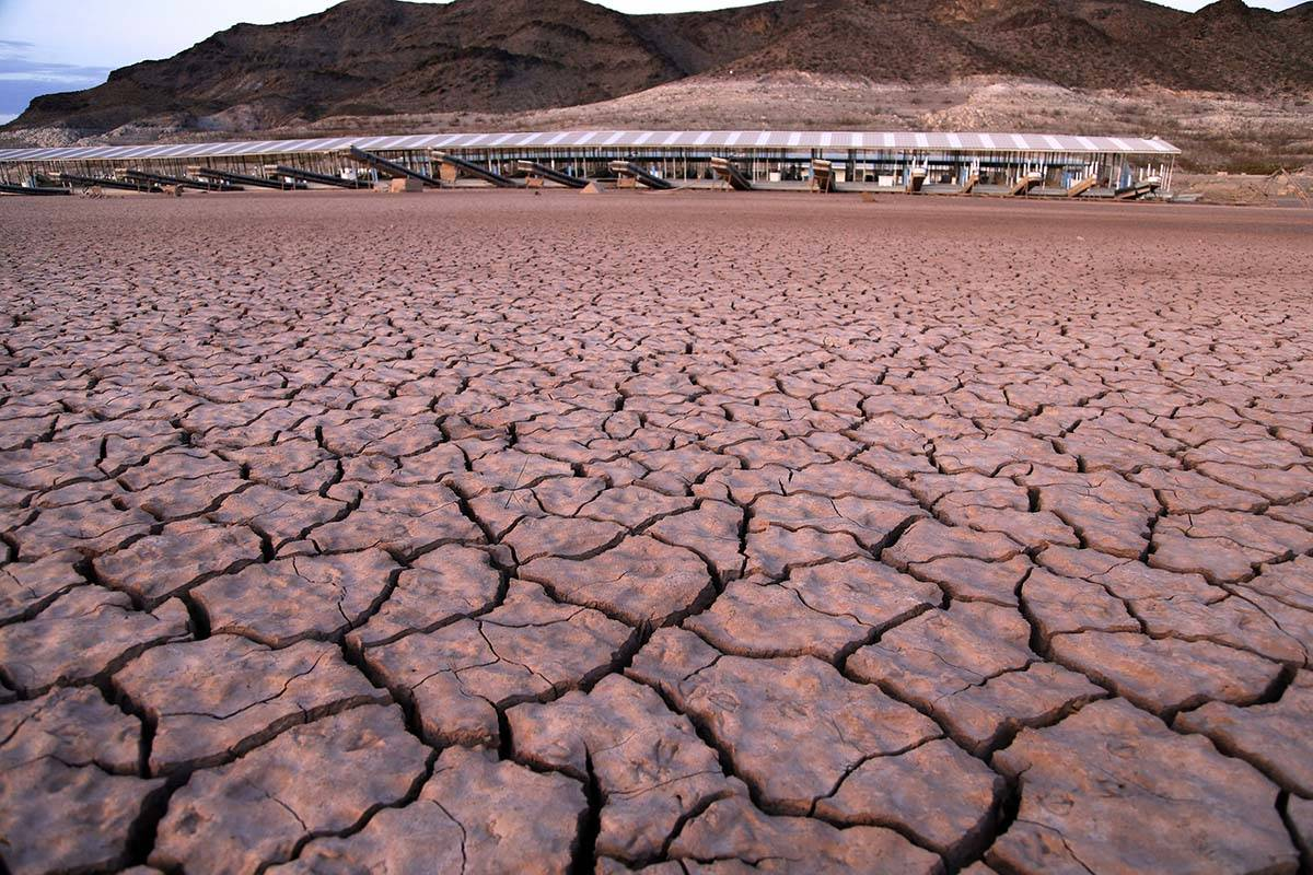 What was once a marina sits high and dry due to Lake Mead receding in the Lake Mead National Re ...