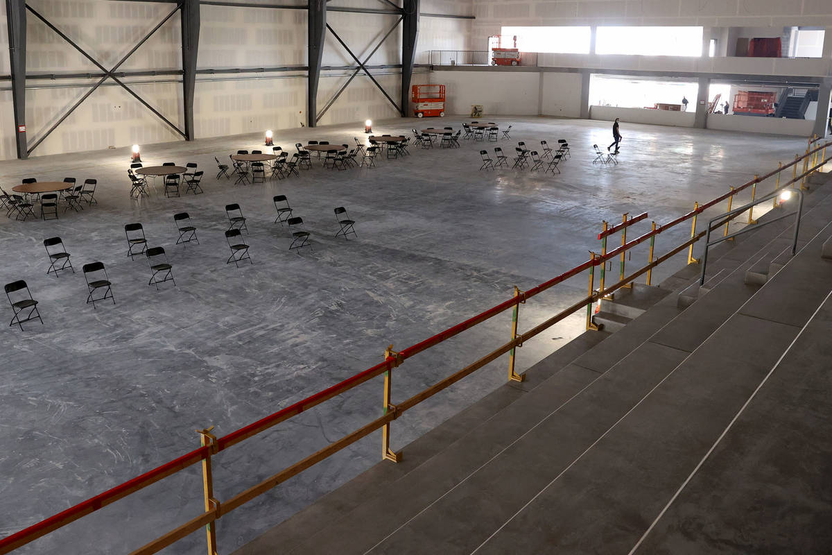 An ice rink inside the Henderson Silver Knights practice facility Lifeguard Arena in Henderson ...