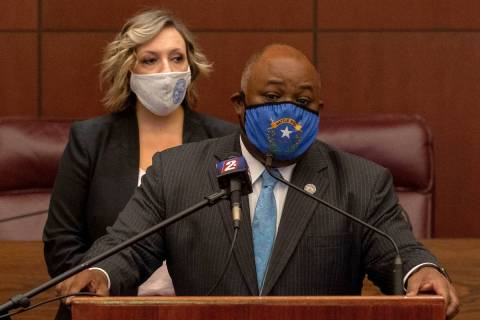 Assembly Speaker Jason Frierson during a press conference with Senate Majority Leader Nicole Ca ...