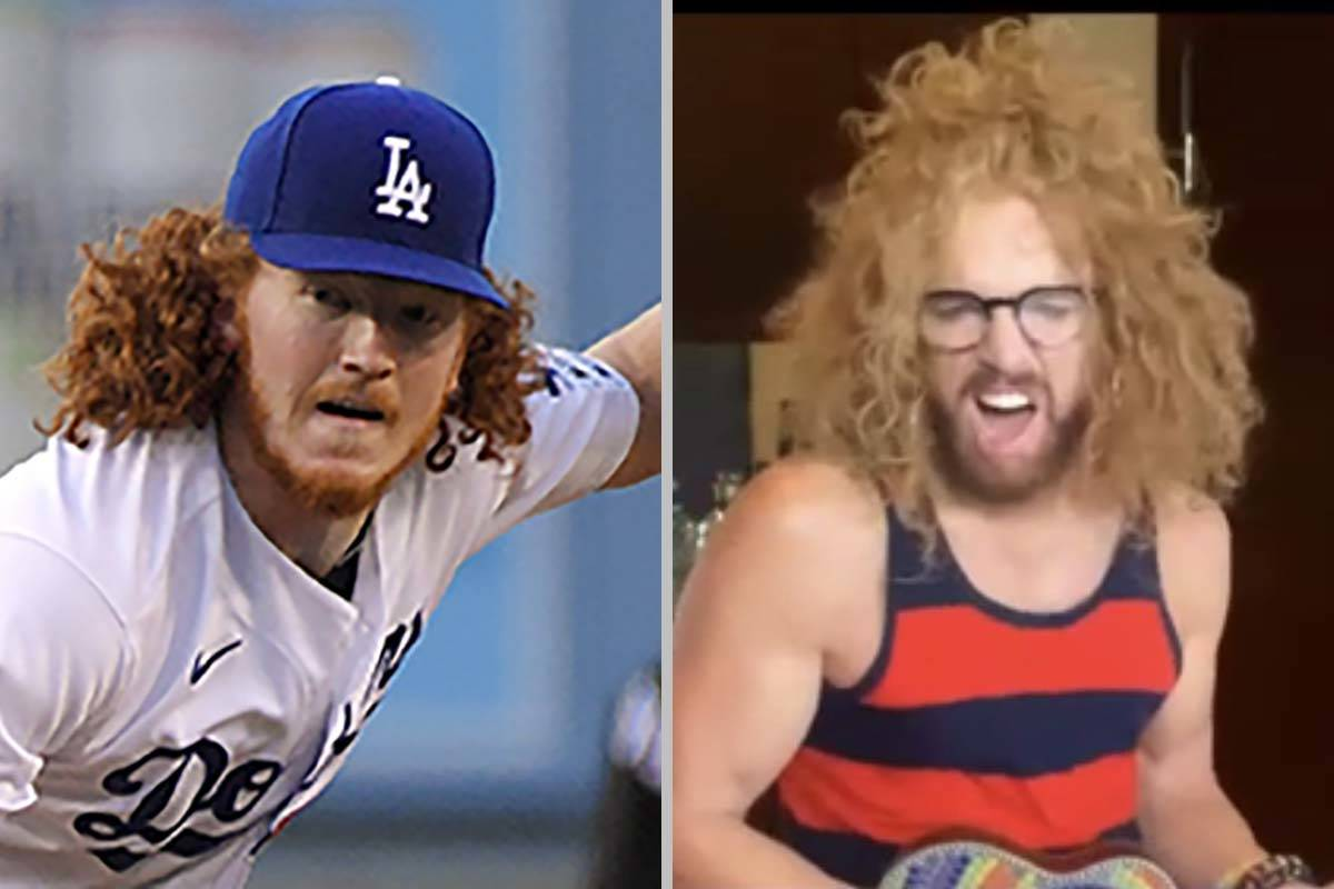 Dodgers pitcher Dustin May, left, showed off his resemblance to Carrot Top. (Photos by The Asso ...