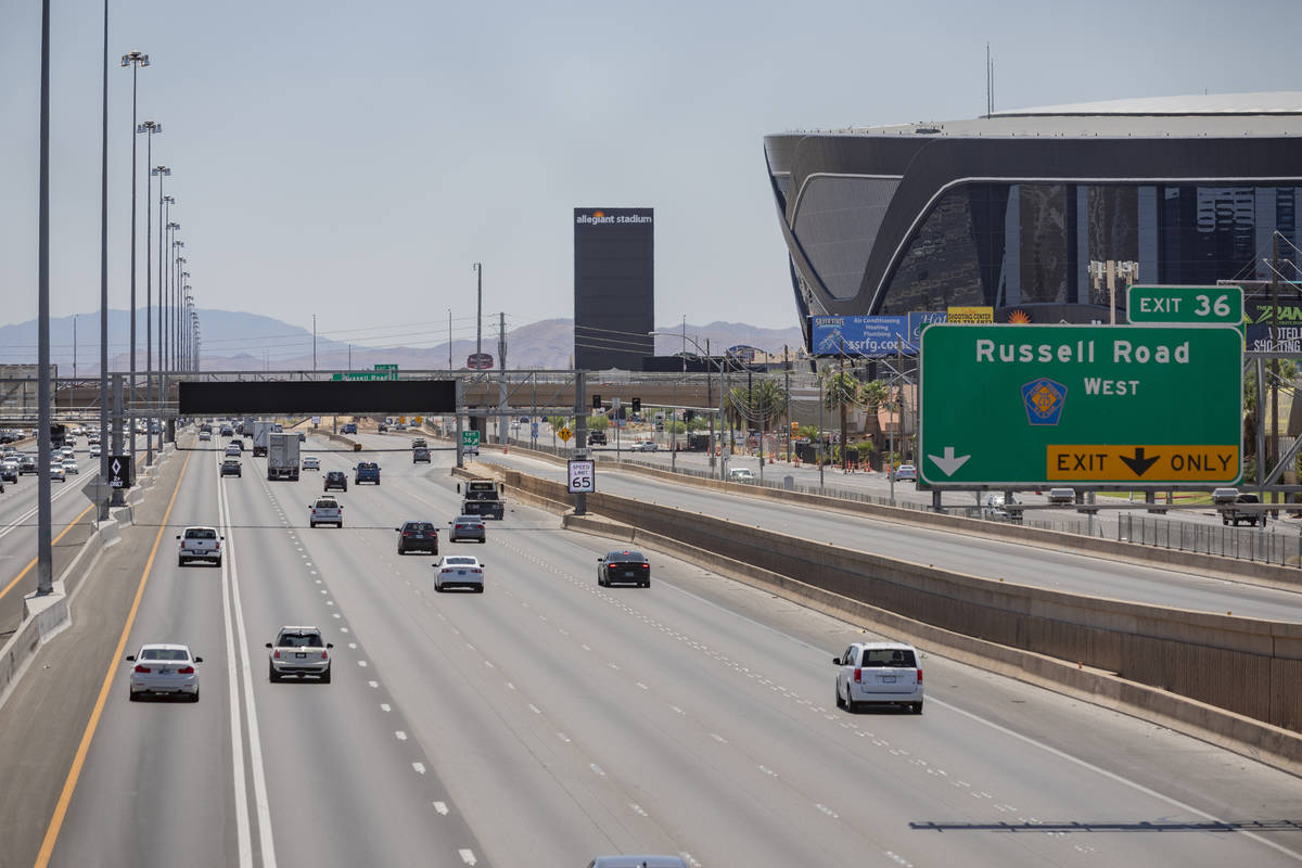 An active traffic management sign is seen on I-15 South near Allegiant Stadium in Las Vegas on ...