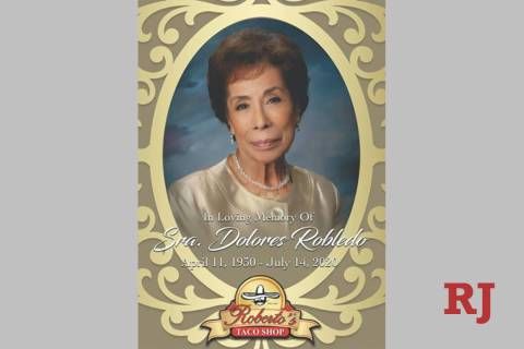 Dolores Robledo, who founded Roberto's Taco Shop in 1964 with her husband, Ricardo Robledo, d ...